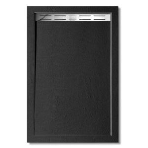 H K - BLACK STAR sprchová vanička z litého mramoru, obdélník, 100x80x3 cm (SE-BLACKSTAR10080SET)
