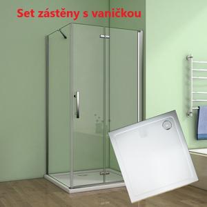 H K - Čtvercový sprchový kout MELODY 90x90 cm se zalamovacími dveřmi včetně sprchové vaničky z litého mramoru, výplň sklo - čiré (SE-MELODYB89090/SE- ROCKY9090-06)