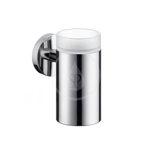 HANSGROHE - Logis Nádobka na ústnu hygienu sklenená, kefovaný nikel (40518820)