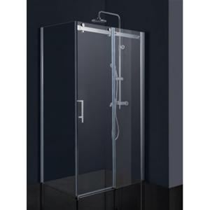 Obdélníkový sprchový kout BELVER KOMBI - 195 cm, 140 cm × 90 cm, Univerzální, Hliník chrom, Čiré bezpečnostní sklo - 8 mm (BCBELV14CC+BCBELV90PSCC)