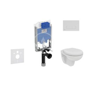 IDEAL STANDARD - ProSys Set předstěnové instalace, klozetu a sedátka Eurovit, tlačítka Oleas M1, Rimless, SoftClose, chrom mat (ProSys80M SP125)