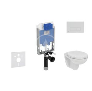 IDEAL STANDARD - ProSys Set předstěnové instalace, klozetu a sedátka Eurovit, tlačítka Oleas M2, Rimless, SoftClose, chrom (ProSys80M SP123)