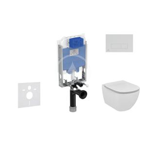 IDEAL STANDARD - ProSys Set předstěnové instalace, klozetu a sedátka Tesi, tlačítka Oleas M2, Rimless, SoftClose, chrom mat (ProSys80M SP80)