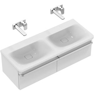 IDEAL STANDARD - Tonic II Nábytkové dvojumývadlo 1215 mm x 490 mm x 170 mm, bez otvoru – na kombináciu s umývadlovou skrinkou Tonic II, s Ideal Plus, biela (K0871MA)