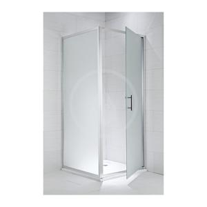 JIKA - Cubito Pure Pevná stena, strieborný lesklý profil, 900 mmx1950 mm – sklo arctic, 6 mm, držadlá chróm (H2972420026661)