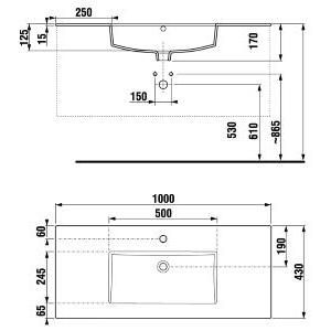 JIKA JIKA - Cube náhradní umyvadlo100x43 s otvorem pro baterii (H8145650001041)