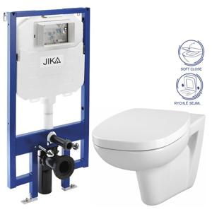 JIKA - předstěnový instalační 8 cm systém bez tlačítka + WC CERSANIT FACILE + SEDÁTKO DURAPLAST SOFT-CLOSE (H894652 X FA2)