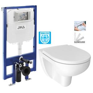 JIKA - předstěnový instalační 8 cm systém bez tlačítka + WC JIKA LYRA PLUS RIMLESS + SEDÁTKO DURAPLAST SLOWCLOSE (H894652 X LY2)