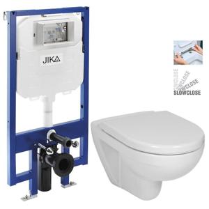 JIKA - předstěnový instalační 8 cm systém bez tlačítka + WC JIKA LYRA PLUS + SEDÁTKO DURAPLAST SLOWCLOSE (H894652 X LY5)