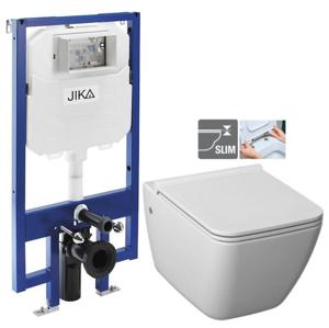 JIKA - předstěnový instalační 8 cm systém bez tlačítka + WC JIKA PURE + SEDÁTKO DURAPLAST (H894652 X PU1)