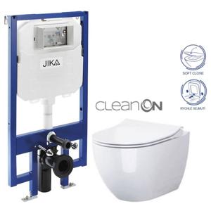 JIKA - předstěnový instalační 8 cm systém bez tlačítka + WC OPOCZNO CLEANON URBAN HARMONY + SEDÁTKO (H894652 X HA1)