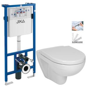 JIKA - předstěnový instalační systém bez tlačítka + WC JIKA LYRA PLUS + SEDÁTKO DURAPLAST SLOWCLOSE (H895652 X LY5)