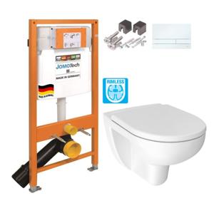 JOMO DUO modul pro závěsné WC s bílou deskou + WC JIKA LYRA PLUS RIMLESS + SEDÁTKO DURAPLAST (174-91100900-00 LY1)