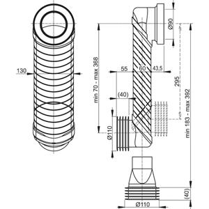 Koleno odpadu 90/110 Slim ALCAPLAST (odskokové koleno) MS906 (MS906)