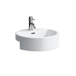 Laufen Laufen - Living Polozápustné umyvadlo, 460 x 460 mm, bílá, Polozápustné umývadlo, 460 mm x 460 mm, biela – 1 otvor na batériu, stredový (H8134310001041)