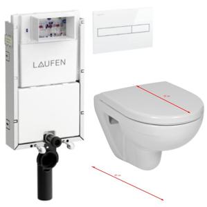 LAUFEN Podomít. systém LIS TW1 SET s bílým tlačítkem + WC JIKA LYRA PLUS 49 + SEDÁTKO DURAPLAST (H8946630000001BI LY3)