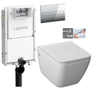LAUFEN Podomít. systém LIS TW1 SET s chromovým tlačítkem + WC JIKA PURE + SEDÁTKO DURAPLAST (H8946630000001CR PU1)