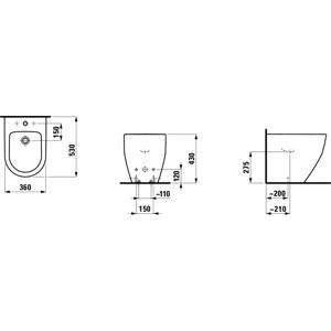 Laufen - Pro Stojící bidet, 530 x 360 mm bílá, Stojací bidet, 530 mm x 360 mm, 3 otvory na batériu, biela (H8329520003081)
