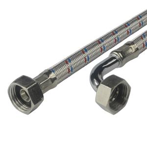 """MEREO - Hadica pripojovacia nerez 10x14, FxF, 3/4""""x3/4"""" s kolínkem, 20 cm (CR501E)"""