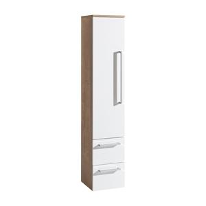 MEREO - Koupelnová skříňka, závěsná bez nožiček, levá, bílá/dub (CN677)