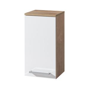MEREO - Koupelnová skříňka závěsná, horní, levá, bílá/dub (CN675)