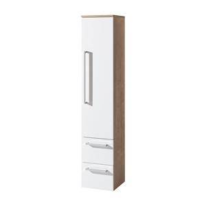 MEREO - Kúpeľňová skriňka vysoká, závesná bez nožičiek, pravá, biela/dub (CN678)