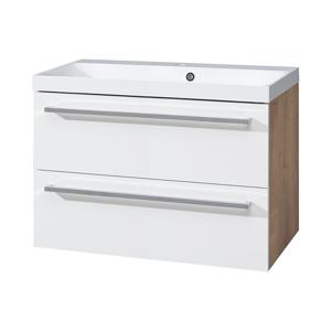 MEREO MEREO - Koupelnová skříňka, umyvadlo litý mramor, 80 cm, bílá/dub (CN671M)