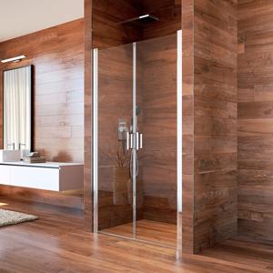 MEREO - Sprchové dveře, LIMA, dvoukřídlé, lítací, 100 cm, chrom ALU, sklo Čiré (CK80533K)