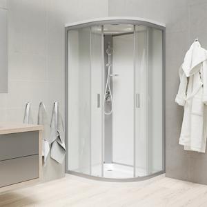 MEREO - Sprchový box, čtvrtkruh, 80 cm, satin ALU, sklo Point, zadní stěny bílé, litá vanička, se stříškou (CK35172MSW)