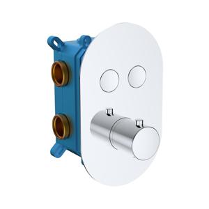 MEREO - Termostatická podomítková tlačítková baterie - 2-cestná - oválný kryt (CB60106TB)
