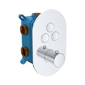 MEREO - Termostatická podomítková tlačítková baterie - 3-cestná - oválný kryt (CB60157TB)