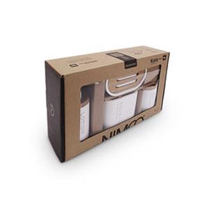 NIMCO - KORA Set dávkovač 270ml, mýdlenka, dózy na kartáčky a tampóny bílá/bambus KO 24000SET-05 (KO 24000SET-05)