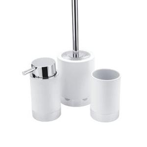 NIMCO - LIO Set dávkovač 270ml, dóza na kartáčky a WC kartáč bílá/chrom Li 25000SET-05 (Li 25000SET-05)