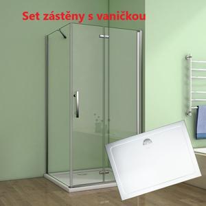 Obdélníkový sprchový kout MELODY 100x90 cm se zalamovacími dveřmi včetně sprchové vaničky z litého mramoru (SE-MELODYB810090/SE-ROCKY10090)