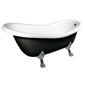 POLYSAN - RETRO voľne stojaca vaňa 158x73x72cm, nohy chróm, čierna/biela (72970)