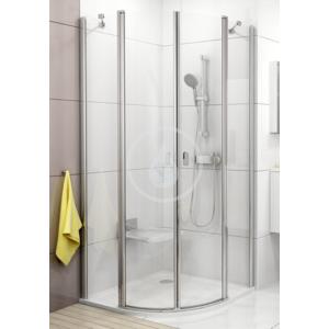 RAVAK - Chrome Čtvrtkruhový sprchový kout CSKK4 - 80, šířka 780-800 mm x 780-800 mm, rádius 500 mm, Štvrťkruhový sprchovací kút CSKK4-80, šírka 780 mm – 800 mmx780 mm – 800 mm, rádius 500 mm – farba biela, sklo transparent (3Q140100Z1)