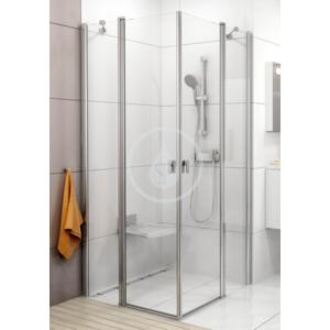 RAVAK - Chrome Rohový sprchový kout čtyřdílný CRV2 - 80, 780 - 800 mm, Rohový sprchovací kút štvordielny CRV2-80, 780 mm – 800 mm – farba lesklý hliník, sklo transparent (1QV40C00Z1)