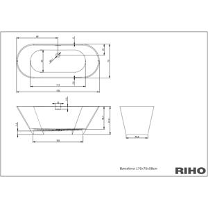 RIHO BARCELONA vana litá 170x70 bílá, bez noh, volně stojící BS0500500000000 (BS0500500000000)
