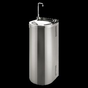 Sanela SLUN 43CS Nerezová pitná fontána určená k montáži ke stěně, s chladící jednotkou, s tlačnou armaturou pro napouštění sklenic, s tlačnou pitnou armaturou, povrch misky vysoce lesklý, povrch opl (SL 83439)