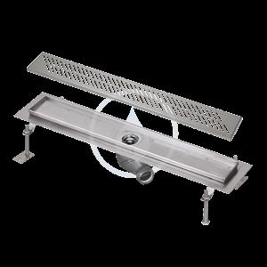 SANELA - Nerezové žlaby Kúpeľňový žliabok z nehrdzavejúcej ocele do priestoru, dĺžka 750 mm, lesk (SLKN 03D)