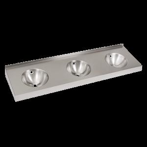SANELA Sanela SLUN 20 Nerezové závěsné trojumyvadlo bez otvorů pro baterie, včetně sifonů, přepadových a upevňovacích sad, materiál CrNi 18/10 (AISI-304), povrch matný, vnější rozměry 1800 x 500 x 190 mm (SL 93200)