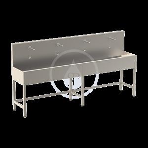 SANELA SANELA - Nerezové dřezy Žľab z nehrdzavejúcej ocele na nohách, termostatický ventil, 2500 mm, štyri elektroniky (SLUN 52ET)