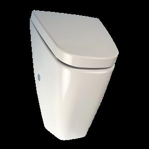 Sanela SLP 37RZ Pisoár Vila s poklopem (systém - Soft close) a radarovým splachovačem a integrovaným zdrojem, 230V AC (SL 01375)