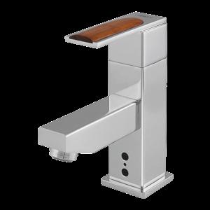 SANELA - Senzor Umyvadlová směšovací baterie, ovládací část s širokou páčkou se dřevem, 9 V SL 43183 (SL 43183)