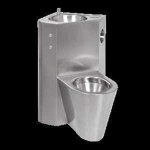 Sanela SLWN 18PP Piezo antivandalový nerezový set WC s umyvadlem do rohu, WC na zemi vpravo, servisní otvor, matný (SL 94185)