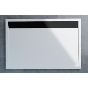 SanSwiss ILA sprchová vanička,obdélník 90x80x3 cm, bílá-kryt černý matný, 900/800/30 (WIA800900604)