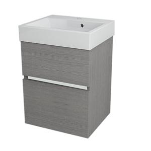 SAPHO - LARGO umývadlová skrinka 49x60x41cm, dub strieborný (LA500)