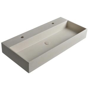 SAPHO - QUADRADO betónové umývadlo vrátane výpusti, 96x44 cm, 2 otvory, biely pieskovec AR475