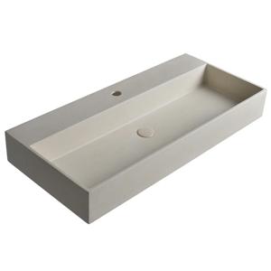 SAPHO - QUADRADO betónové umývadlo vrátane výpusti, 96x44 cm, biely pieskovec AR467