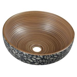 SAPHO SAPHO - PRIORI keramické umyvadlo, průměr 40 cm, 15 cm, hnědá s modrým vzorem (PI023)